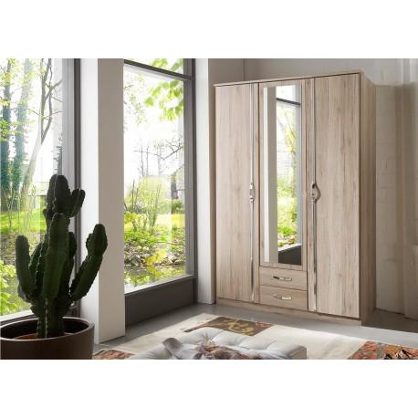 Armoire chêne 3 portes et 2 tiroirs 135 cm