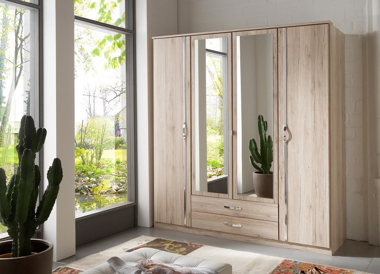 Armoire chêne 4 portes et 2 tiroirs 180 cm