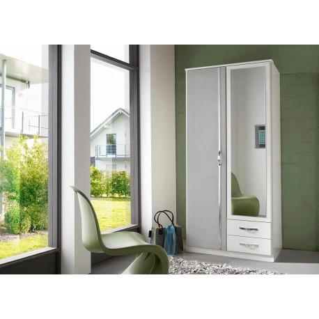 Armoire blanche et béton gris clair 2 portes et 2 tiroirs 90 cm