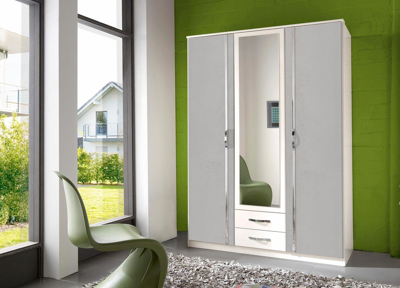 Armoire blanche et décor béton 3 portes et 2 tiroirs 135 cm
