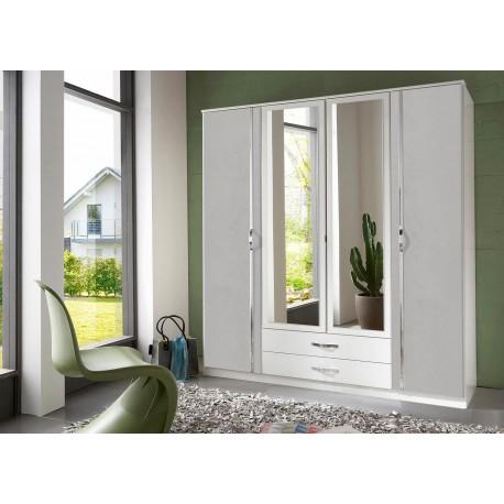 Armoire blanche et grise 4 portes et 2 tiroirs 180 cm