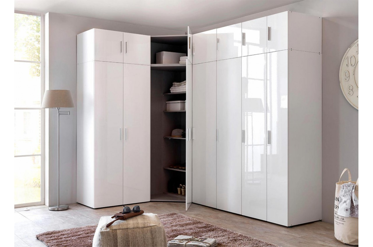 armoire d 39 angle dressing blanc brillant design cbc meubles. Black Bedroom Furniture Sets. Home Design Ideas