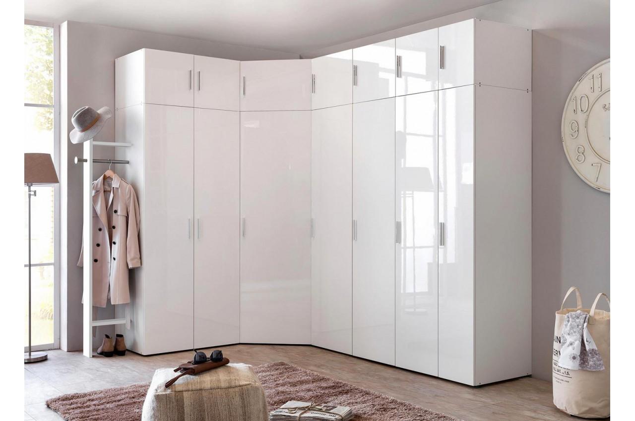 Armoire d\'angle dressing blanc brillant design - Cbc-Meubles