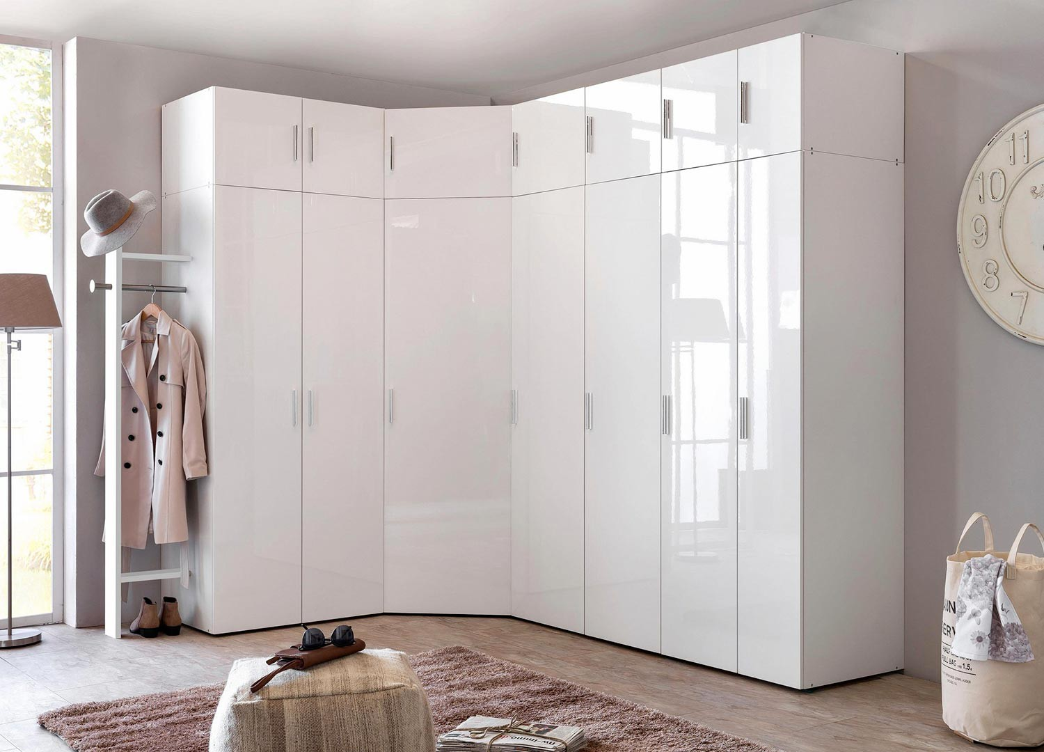Armoire d'angle dressing blanc brillant design