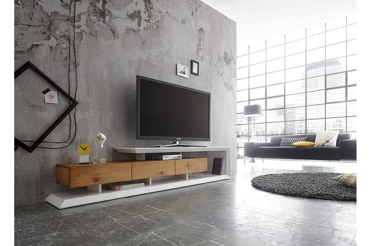 meuble tv moderne laqu blanc mat et ch ne 198 cm cbc. Black Bedroom Furniture Sets. Home Design Ideas