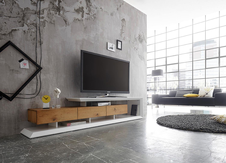 Meuble TV moderne laqué blanc mat et chêne 198 cm