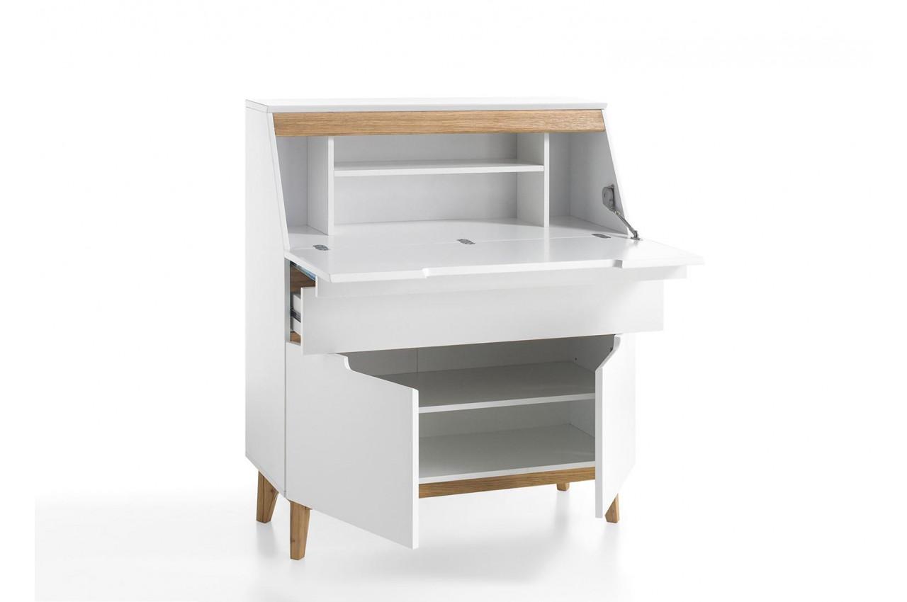 Bureau secr taire blanc scandinave cbc meubles for Bureau secretaire blanc
