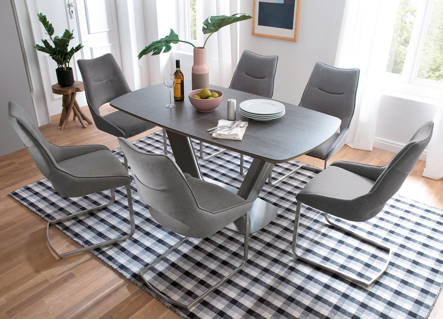 Table repas design extensible grise