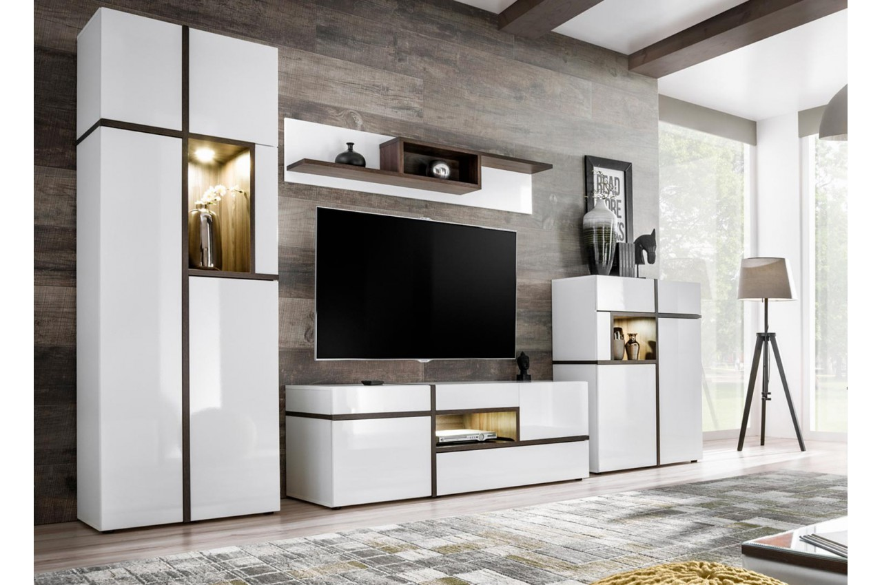 ensemble meuble tv mural blanc led cbc meubles. Black Bedroom Furniture Sets. Home Design Ideas