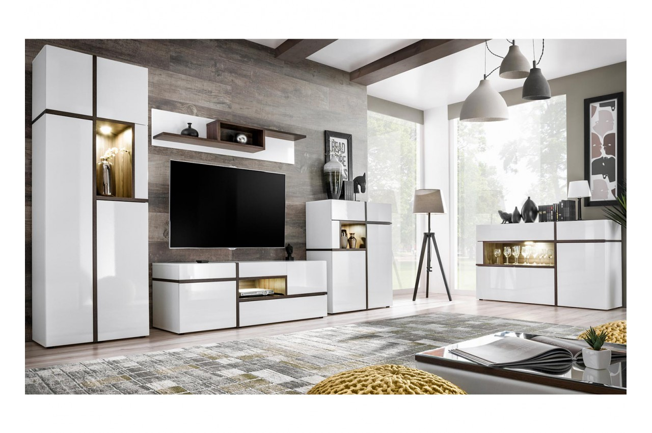 ensemble salon s jour blanc et bois cbc meubles. Black Bedroom Furniture Sets. Home Design Ideas