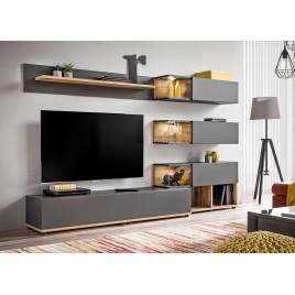 Ensemble meuble TV mural anthracite et bois