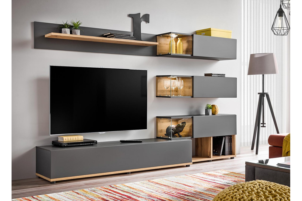 ensemble meuble tv mural anthracite et bois cbc meubles. Black Bedroom Furniture Sets. Home Design Ideas