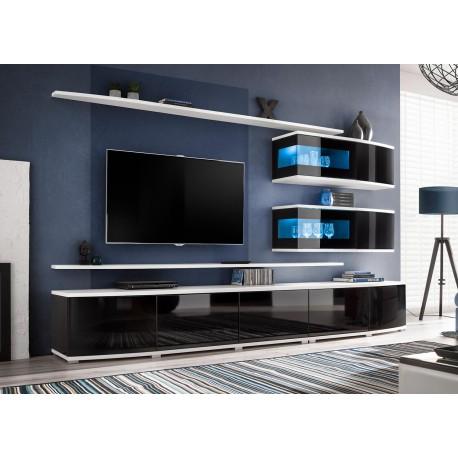 Ensemble meuble TV mural noir et blanc