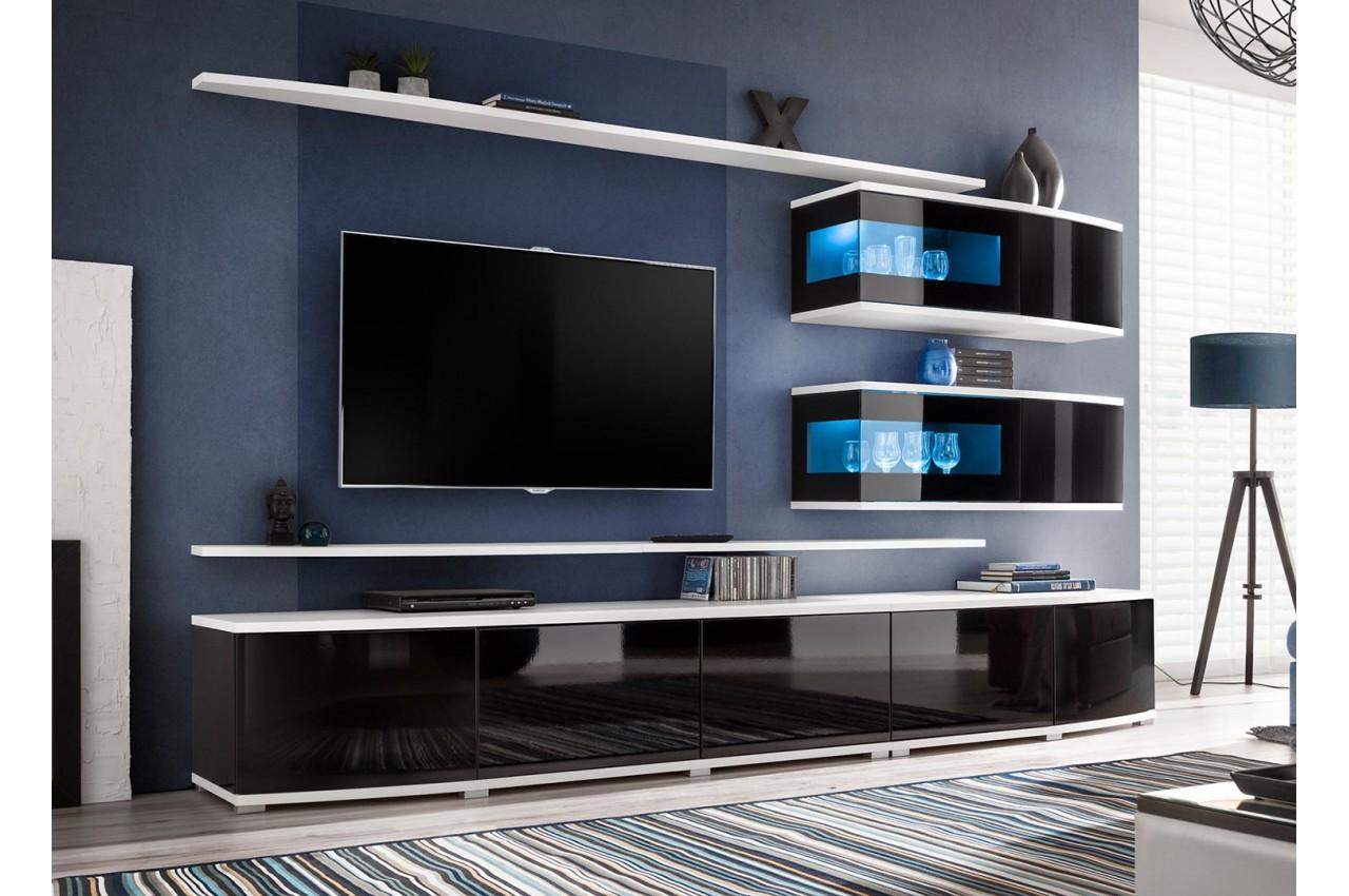 ensemble meuble tv mural noir et blanc cbc meubles. Black Bedroom Furniture Sets. Home Design Ideas