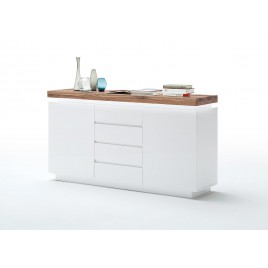 Buffet design laqué blanc mat et chêne 150 cm