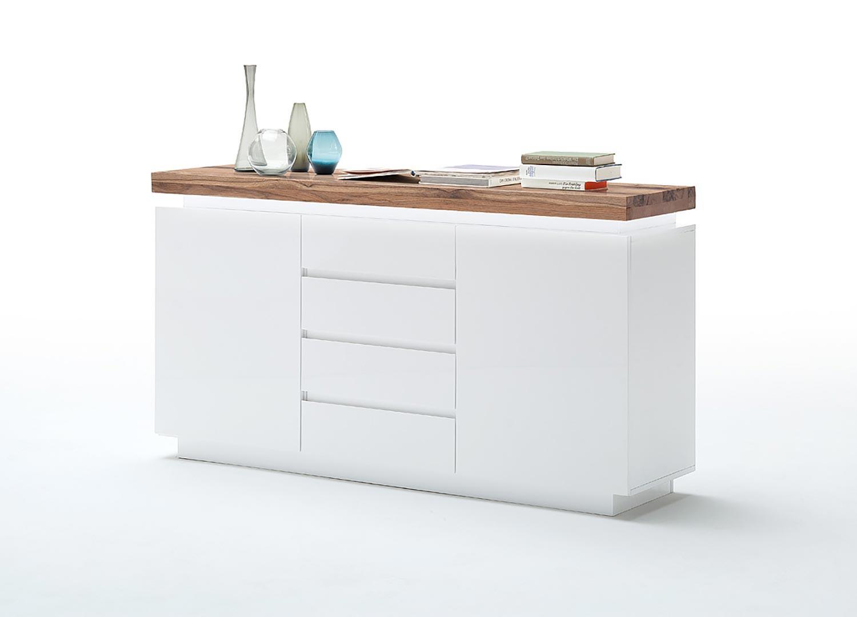 Buffet design laqué blanc mat et chêne 150 cm