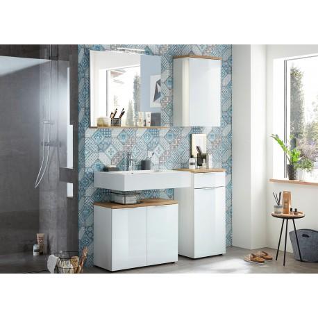 Meubles salle de bain ensemble complet blanc et bois