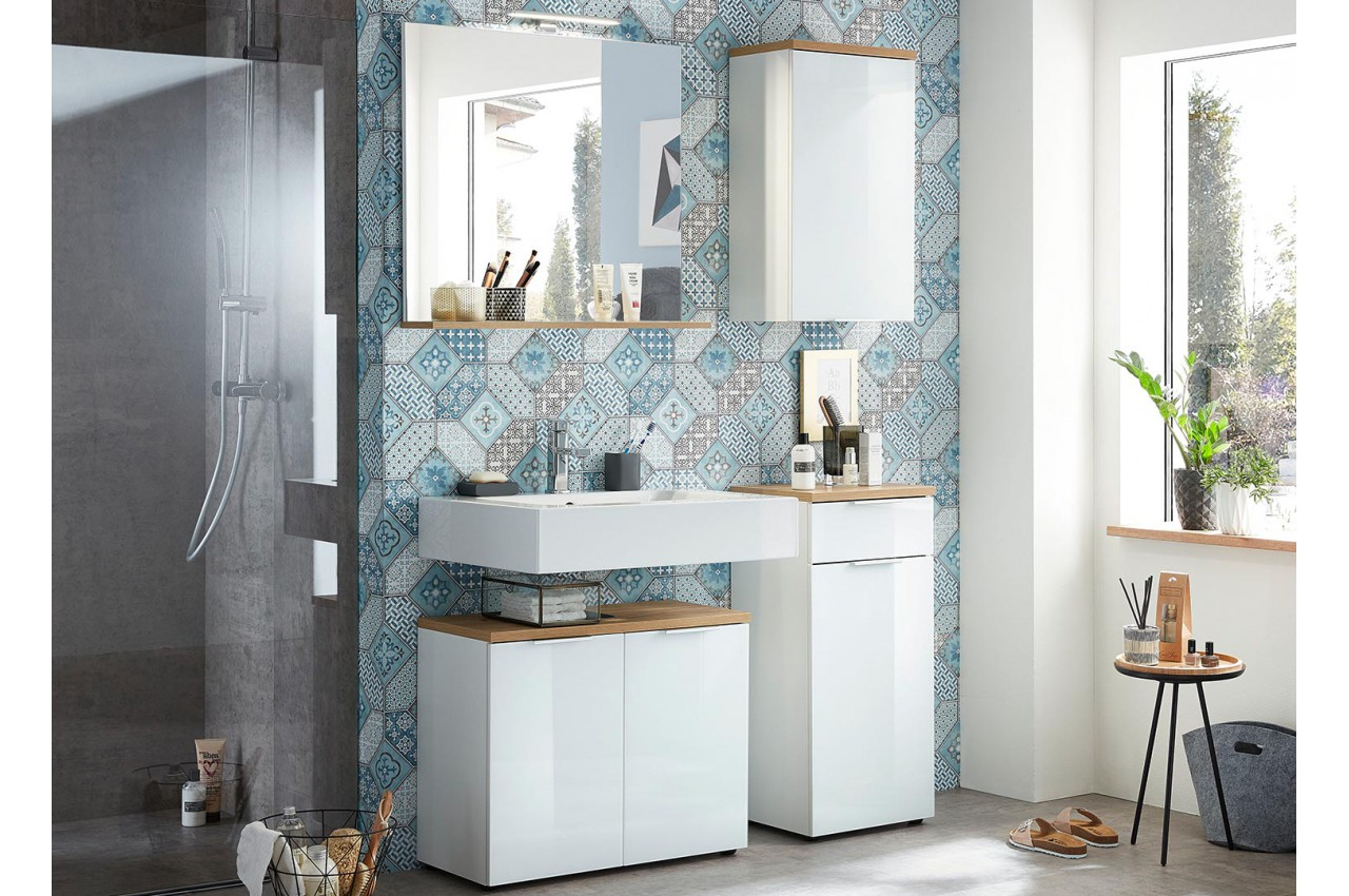 meubles salle de bain ensemble complet blanc et bois cbc. Black Bedroom Furniture Sets. Home Design Ideas
