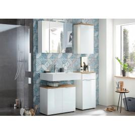 Ensemble meuble salle de bain blanc et bois