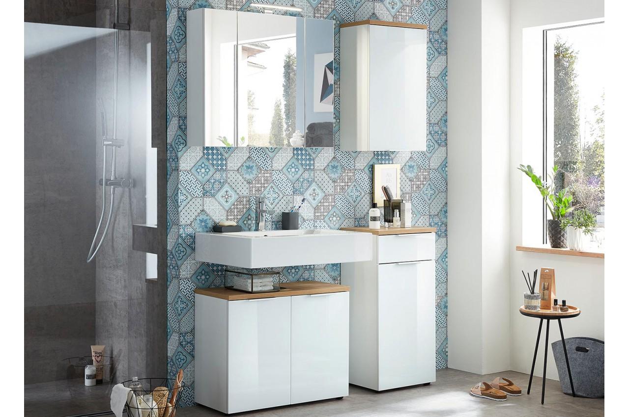 Ensemble meuble salle de bain blanc et bois cbc meubles - Ensemble salle de bain bois ...