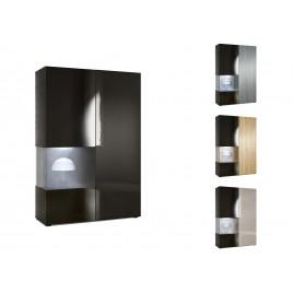 Meuble vitrine design en verre et bois finition laquée