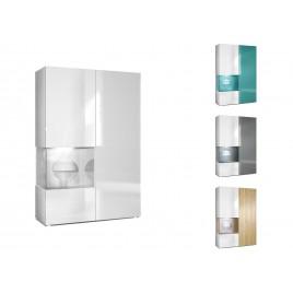 Meuble vitrine moderne en verre et bois finition laquée