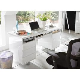 Bureau blanc laqué 3 tiroirs, 3 compartiments et 1 porte