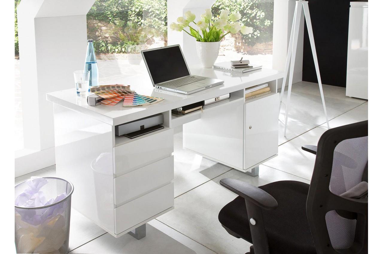 Bureau blanc laqué 3 tiroirs 3 compartiments et 1 porte cbc meubles