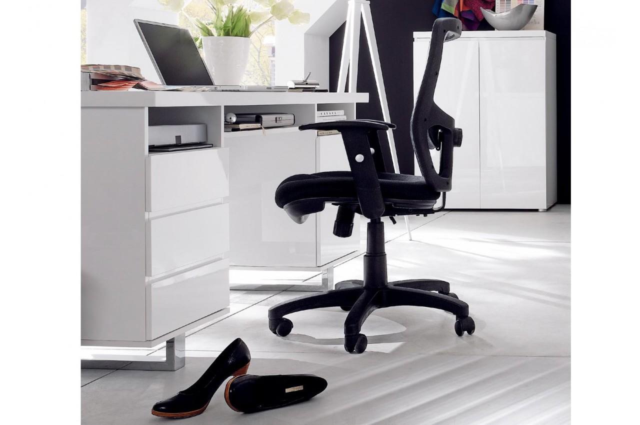 Bureau blanc laqué tiroirs compartiments et porte cbc meubles