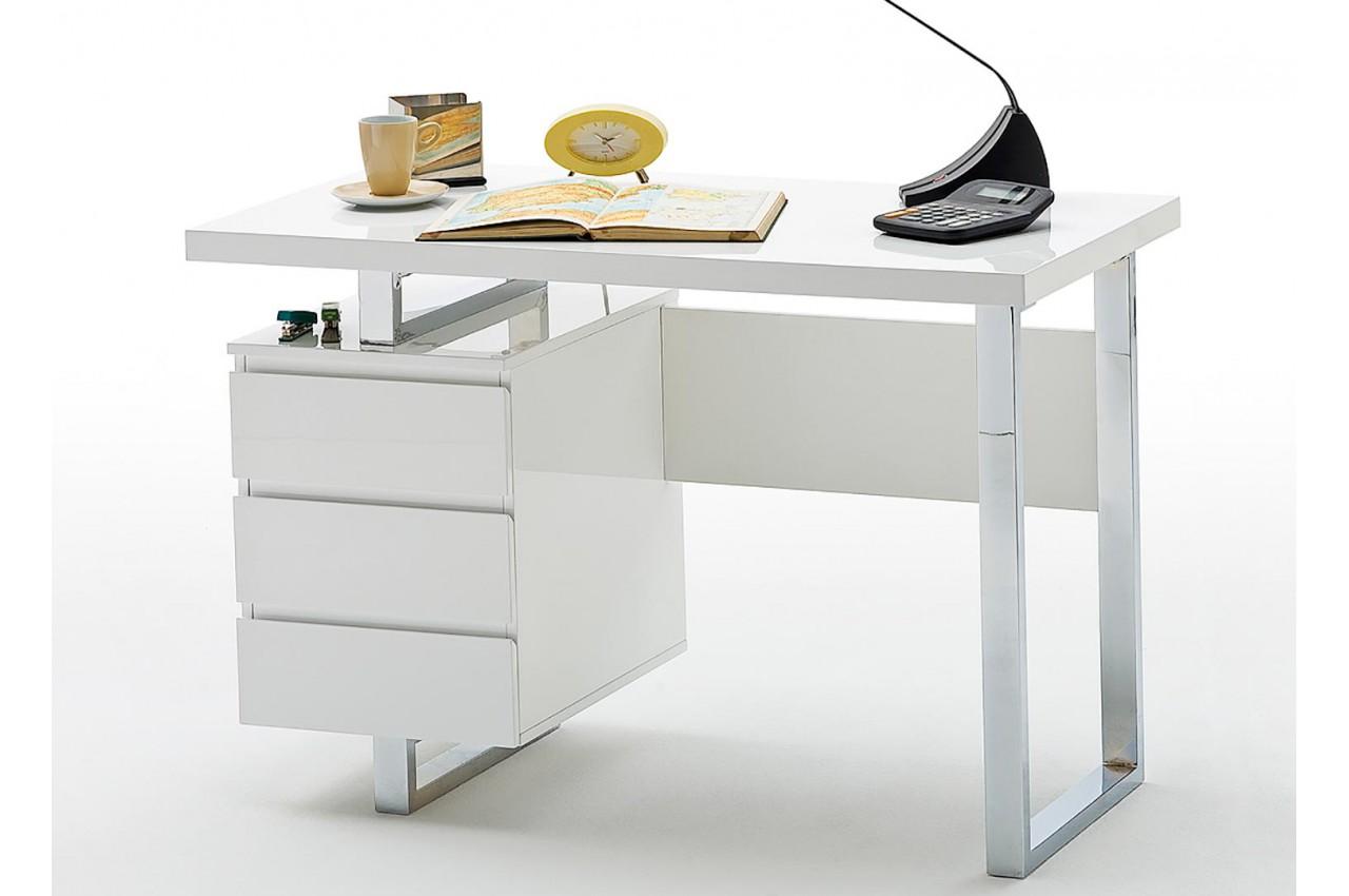 Bureau Blanc Tiroir : Bureau blanc laqué brillant 3 tiroirs cbc meubles