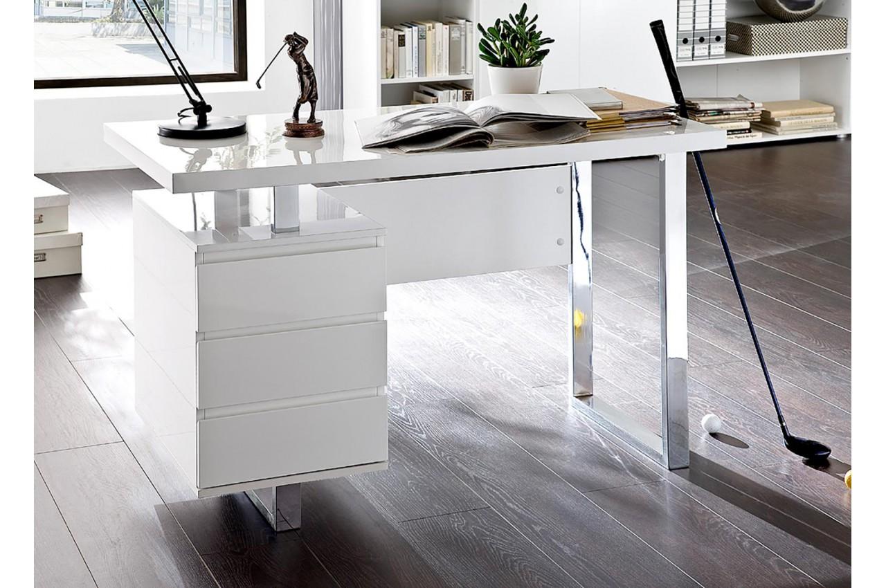 Bureau blanc laqué brillant tiroirs cbc meubles