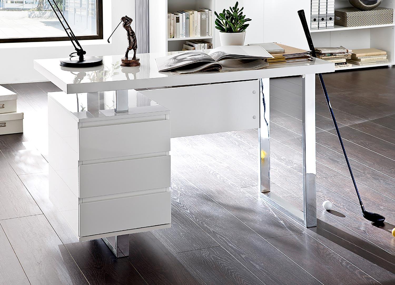 Bureau blanc laqué brillant 3 tiroirs