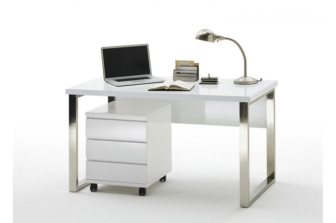 Bureau blanc laqué et pied chromé avec caisson cbc meubles