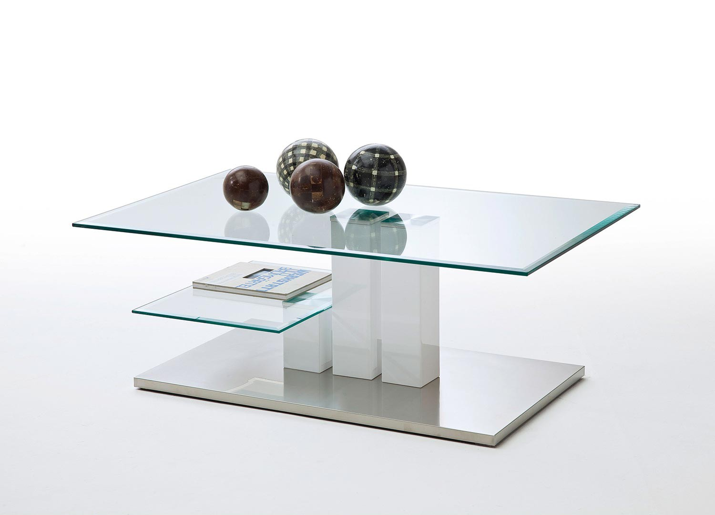 Table basse verre clair et blanc brillant
