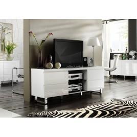 Meuble tv blanc laqué 4 tiroirs, 2 niches