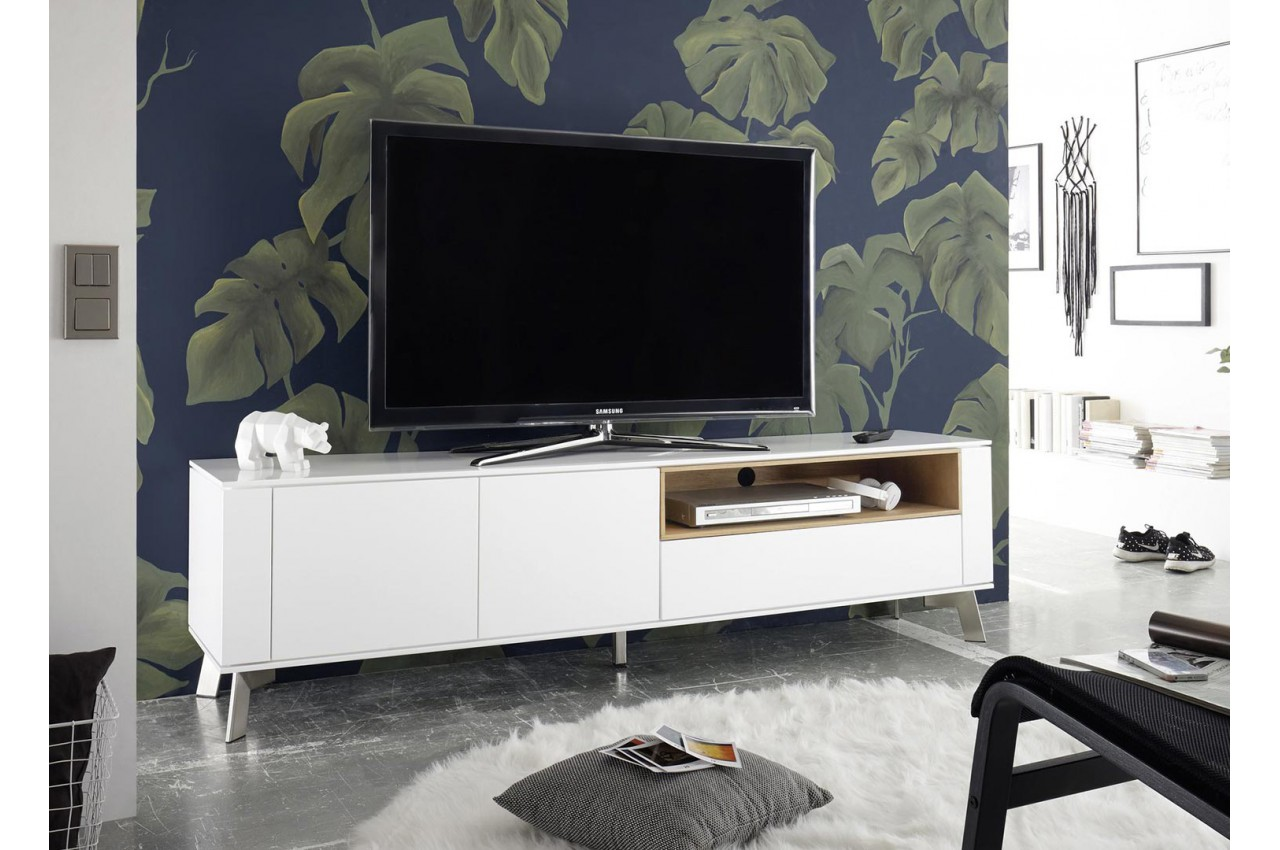 meuble tv blanc laqu mat et bois 180 cm cbc meubles. Black Bedroom Furniture Sets. Home Design Ideas
