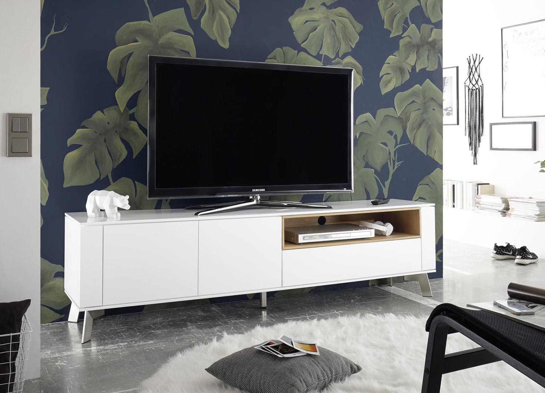 Meuble TV blanc laqué mat et bois 180 cm