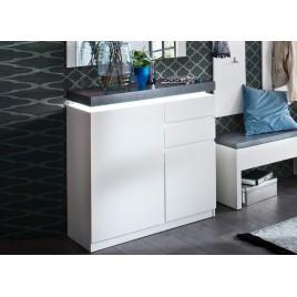 Meuble rangement entrée blanc et gris + miroir