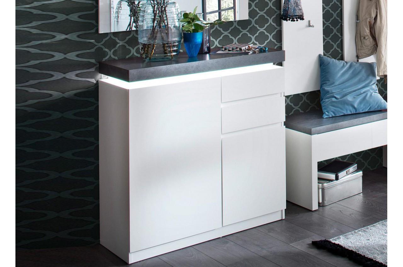 Meuble rangement entrée blanc et gris + miroir - Cbc-Meubles