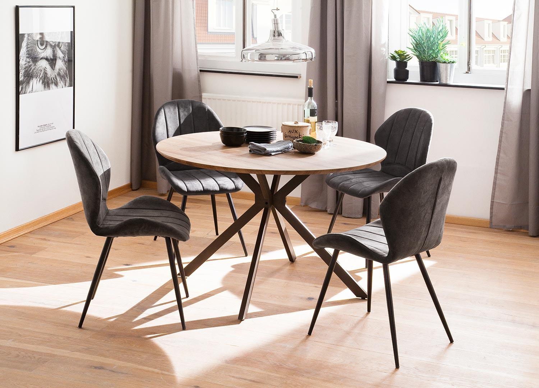 Table ronde en bois de salle à manger style industriel