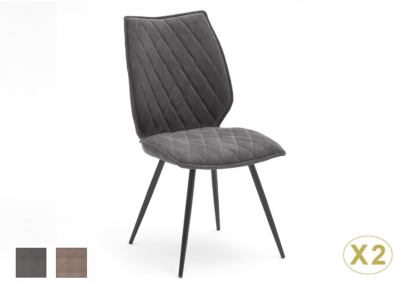 Lot de 2 chaises tissu matelassé style industriel