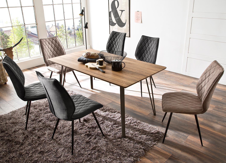 Table à manger rectangulaire chêne sauvage et pieds métal eiffel