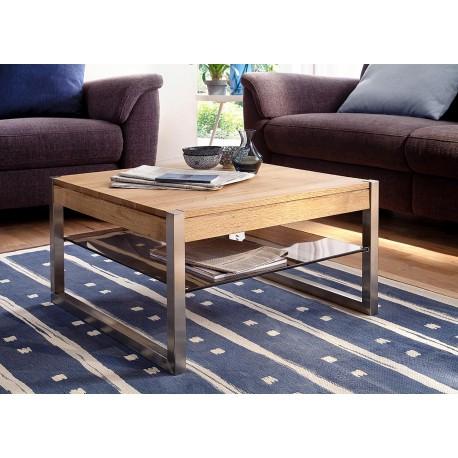 Table basse carrée bois massif et étagère en verre