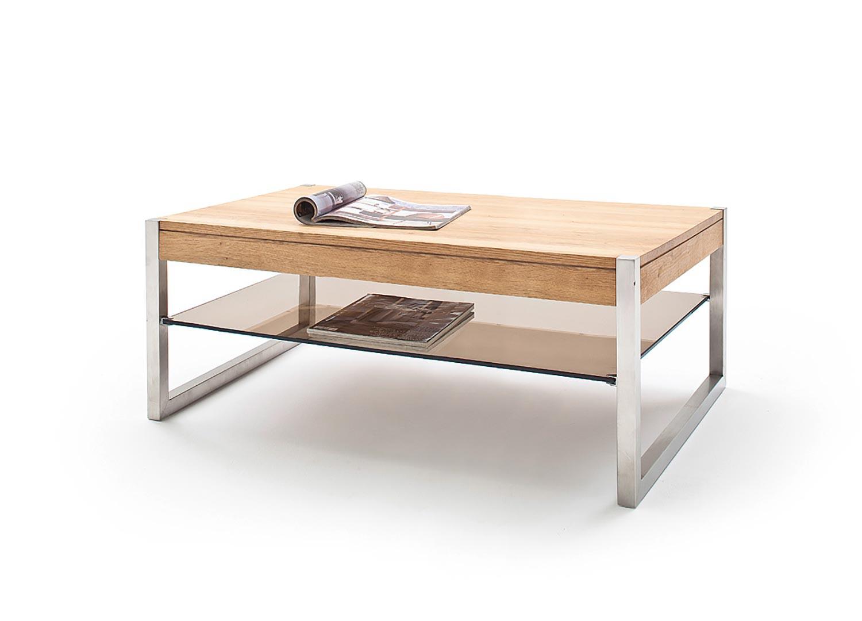 Table basse rectangulaire bois massif et étagère en verre