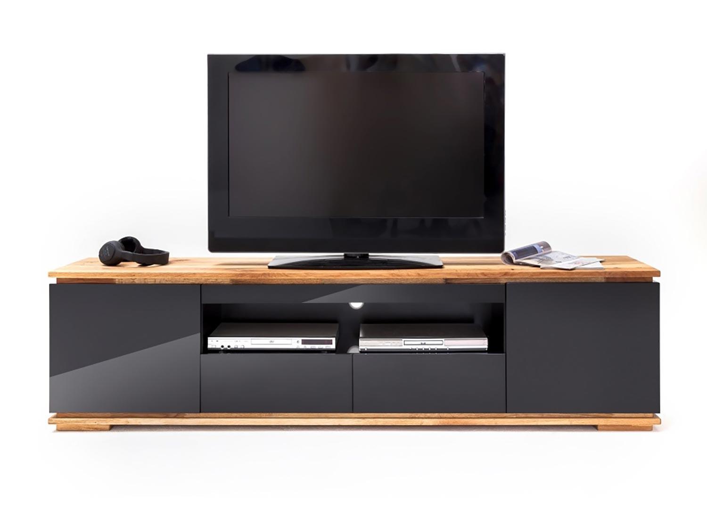 Meuble TV noir laqué design 2 m