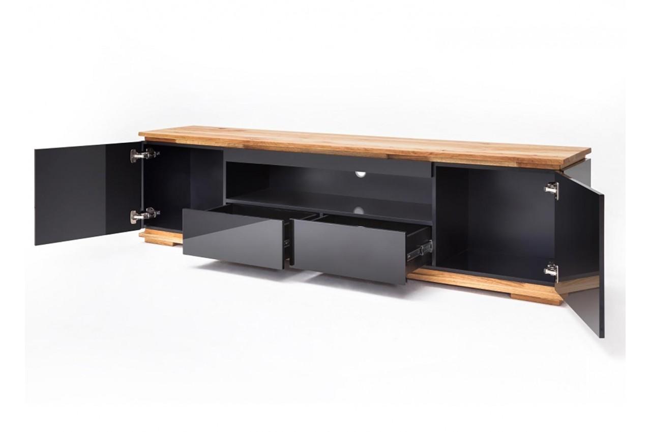 meuble tv noir laqu design 2 m cbc meubles. Black Bedroom Furniture Sets. Home Design Ideas