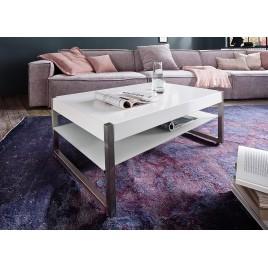 Table basse rectangulaire laqué blanc mat et verre blanc