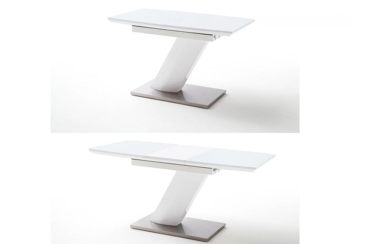 Table A Manger Laquee Blanche Et Verre Blanc 120 Cm Ou 140 Cm