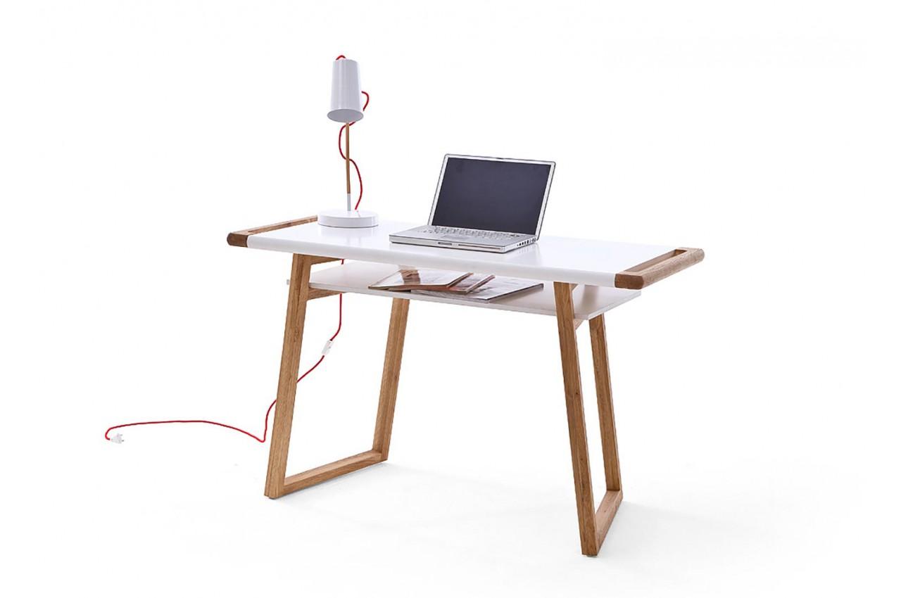 Bureau laqué blanc mat et pieds chêne massif cbc meubles