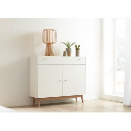 Commode rangement chêne et blanche style scandinave